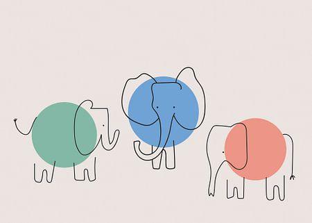 Drie olifanten, abstract, minimalistisch en kleurrijk.