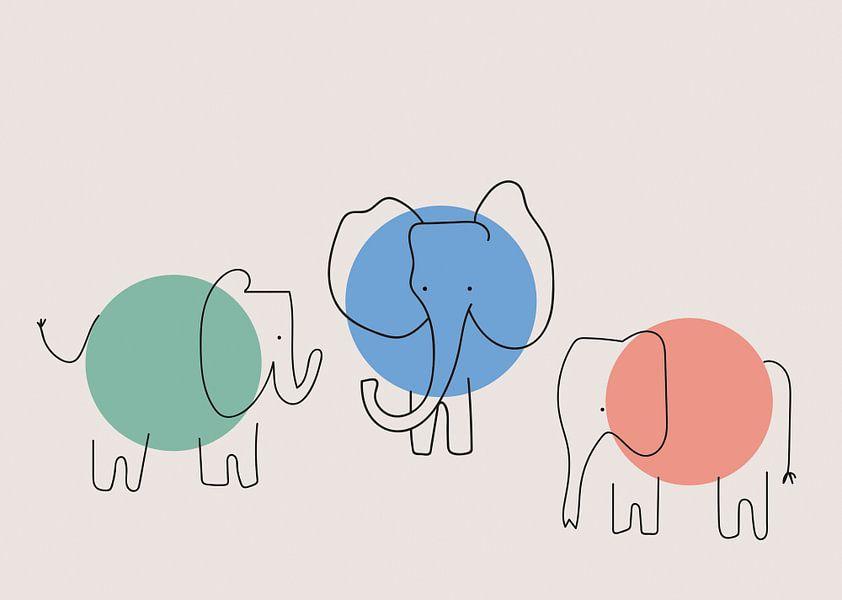 Three elephants, minimalistic, graphic and abstract. von Charlotte Hortensius