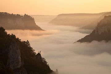 Lever de soleil avec brouillard dans la vallée - Château de Werenwag dans la haute vallée du Danube sur Jiri Viehmann