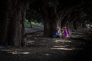 Twee vrouwen uit Myanmar zoeken de schaduw onder de bomen. Wout Kok One2expose Photography