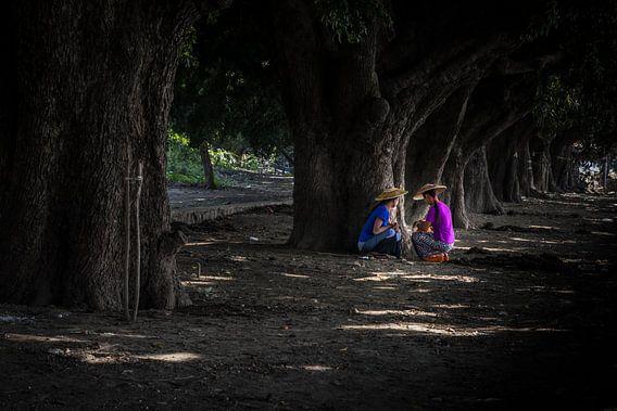Twee vrouwen uit Myanmar zoeken de schaduw onder de bomen. Wout Kok One2expose Photography van Wout Kok
