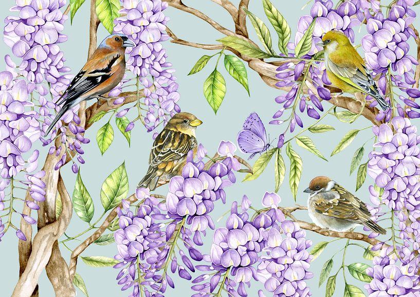 Vögel auf Glyzinienzweigen von Geertje Burgers
