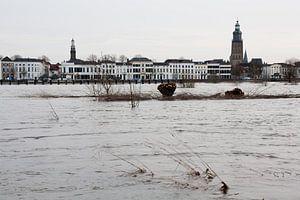 Gezicht op Zutphen over de ondergelopen uiterwaarden van de IJssel van