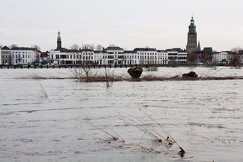 Gezicht op Zutphen over de ondergelopen uiterwaarden van de IJssel van Jim van Iterson