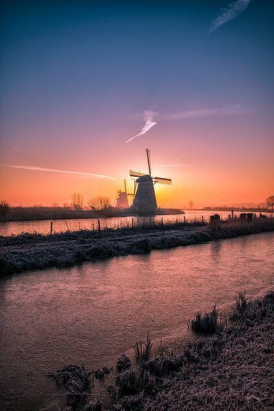 Zonsopkomst Kinderdijk van Henk Smit