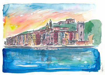 Porto Venere Mittelmeer-Sonnenuntergang in Italien von Markus Bleichner