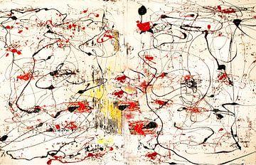 Structuren rood-geel van Klaus Heidecker
