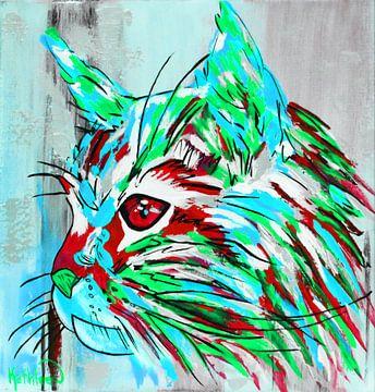 De blauwgroene kat van Kathleen Artist Fine Art