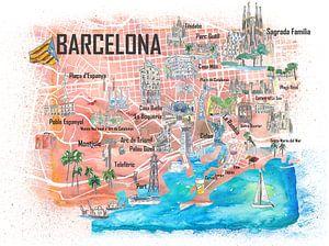 Barcelona Geïllustreerde reiskaart met de belangrijkste wegen, bezienswaardigheden en hoogtepunten v van