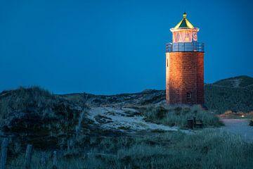 vuurtoren kruislicht in Kampen in de avond, Sylt van Christian Müringer
