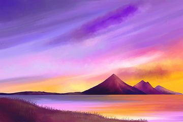 Schilderij van een vredige landschap van Tanja Udelhofen