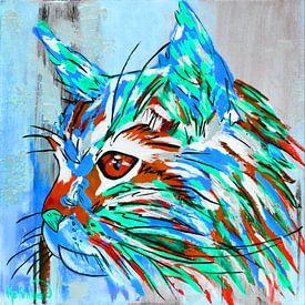 Die abstrakte Katze von Kathleen Artist Fine Art