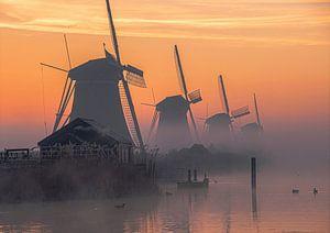 Kinderdijk Molens windmill sunrise zonsopkomst van Marco van de Meeberg