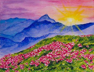 Roze bloemen voor blauwe bergen van Djillie Roes
