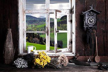 Salon de ferme avec vue par la fenêtre sur Jürgen Wiesler