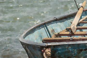 Blauwe roeiboot aan de oevers van de Nijl van Frank Heinz