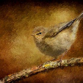 Fitis op een tak (schilderij) van Art by Jeronimo