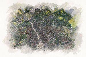 Delft aus der Luft im Aquarellstil