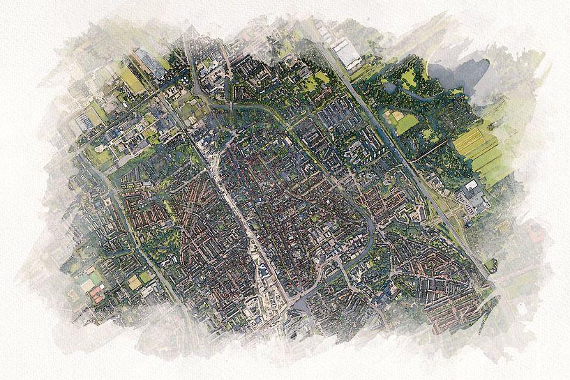 Delft aus der Luft im Aquarellstil von Aquarel Creative Design