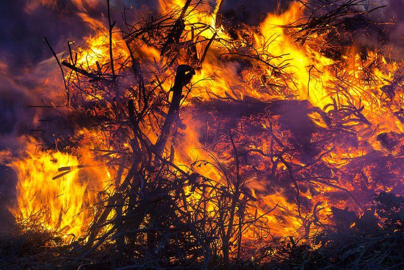 Close up van een brandend vuur van Evert Jan Luchies