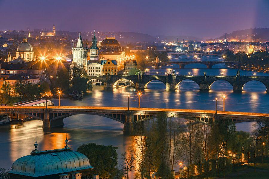 Historical Prague after sunset