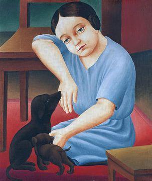 Meisje met honden, Georg Schrimpf, 1922 van Atelier Liesjes