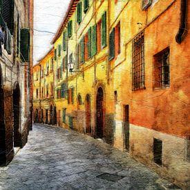 Rue colorée en Italie (peinture) sur Art by Jeronimo