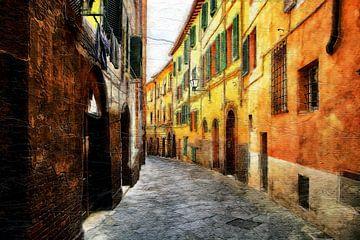 Kleurrijk straatje in Italië (schilderij) van Art by Jeronimo