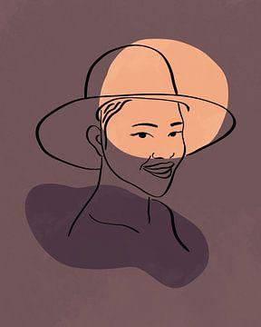 Frau mit Hut Linienzeichnung mit zwei organischen Formen von Tanja Udelhofen