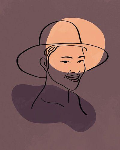 Vrouw met hoed lijn tekening met twee organische vormen