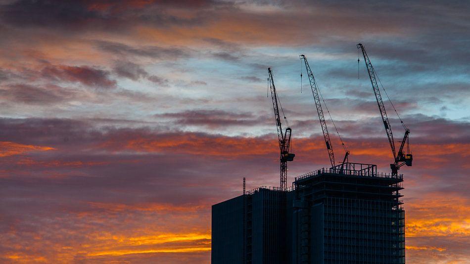 De Rotterdam in aanbouw(panorama) van Erik van 't Hof