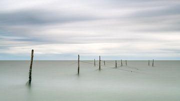 Een visnet gegrepen door wind en water van Michael Kuijl