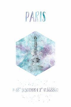Koordinaten PARIS Eiffelturm | Aquarell von Melanie Viola