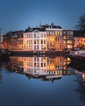 Noorderhaven, Reitdiep, Groningen weerspiegeling van Harmen van der Vaart
