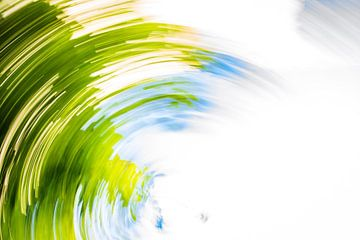 daytrails - abstracte kunst - bomen - zon - groen van Sven Van Santvliet