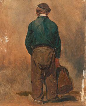 Fischer mit einem Korb, von hinten gesehen, Jan Weissenbruch