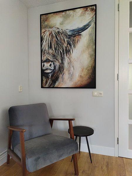 Kundenfoto: Schottisches Hochlandrind mit Acrylfarbe von Els Fonteine