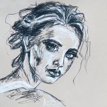 Portret vrouw: lijntekening zwart wit van Bianca ter Riet