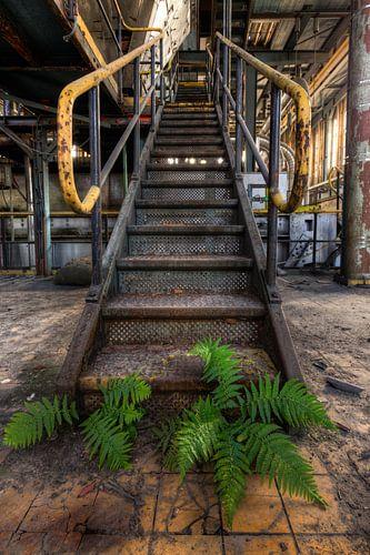 Vervallen stalen trap in Energiecentrale