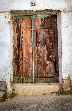 Rood oranje uitgebeten eikenhouten deur. sur Wout Kok