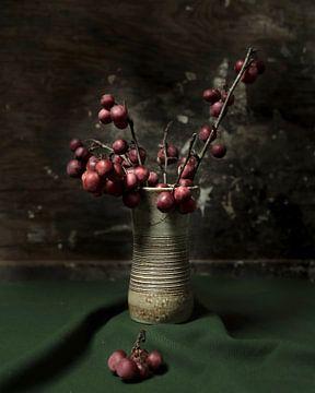 Äpfel in Steingutvase | bildende Kunst Stillleben Farbfotografie | Wandkunst drucken von Nicole Colijn