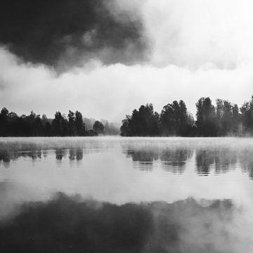 Ochtendmist boven het meer in zwart-wit. van Patrik Lovrin
