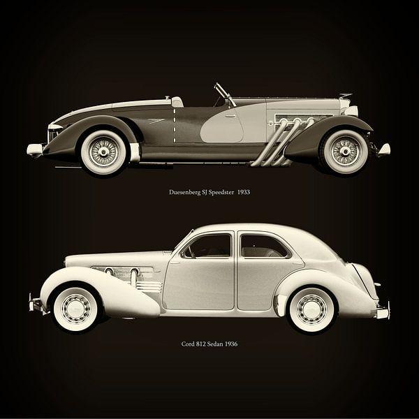 Duesenberg SJ Speedster 1933 en Cord 812 Sedan 1936 van Jan Keteleer
