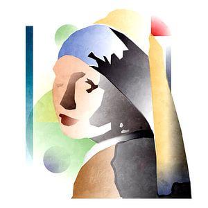 Abstraktes Mädchen mit dem Perlenohrring von Alexander van Laar
