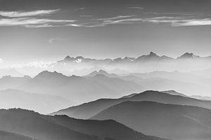 Berglandschap in zwart/wit