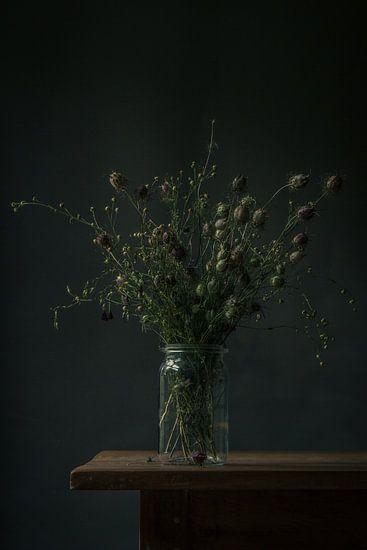 Boeket droogbloemen stilleven