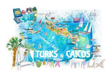 Turks & Caicos Antillen Illustrierte Reisekarte mit Straßen und Highlights von Markus Bleichner