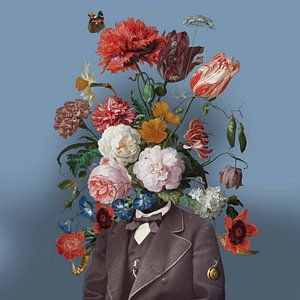 Zelfportret met bloemen 3 (blauwe achtergrond)