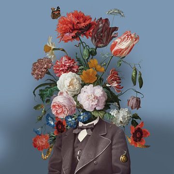 Zelfportret met bloemen 3 (blauwe achtergrond) sur toon joosen