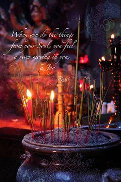 Incense Sticks In A hindu Temple van Misja Vermeulen